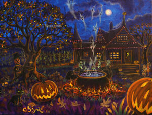 Original Painting House Of Witches Halloween Pumpkinhead Holiday Art CBjork $250.00