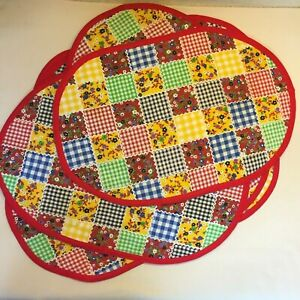 Vtg 70s Handmade Quilted Patchwork Print Placemats Oval Set of 8 $22.99