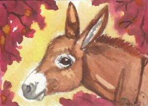 ACEO original Watercolor Art Card Horse cousin little red Miniature Donkey fall $10.00