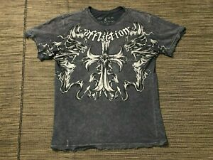 Affliction Adult Mens Small Distressed Cross Tee T Shirt Short Sleeve Gray $19.99