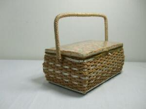 Vtg Dritz Sewing Basket Box Pink Floral Lining Handle Mid Century Woven Wicker $22.37