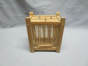 Vintage Chinese Wood Bamboo Cricket Cage with Sliding Door $39.99