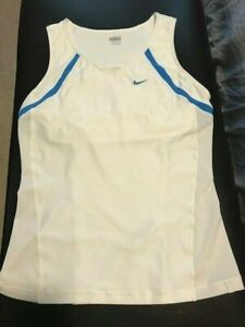 Nike Fit Dry Tennis Top White and Blue L $5.00