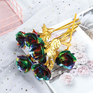 24K Gold Plated Rose Gold Foil Flower Artificial Decor Valentines Day Gifts