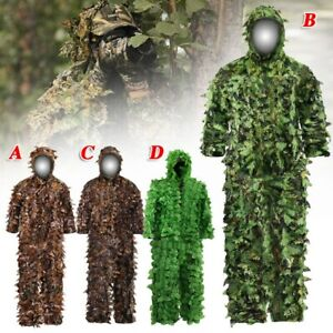 Ghillie Suit 3D Leafy Woodland Camouflage Clothing Lightweight Breathable Hooded