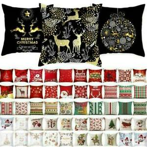 Cotton Linen Sofa Car Home Waist Cushion Cover Throw Pillow Case Xmas Home Decor $7.50