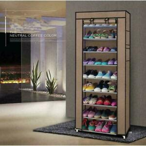 10 Layer Shoes Cabinet Storage Organizer Rack Dustproof Standing Space w Cover $17.99
