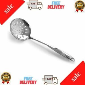 Kitchen Skimmer Spoon Stainless Steel Slotted Spoon With Extra Large Bowl NEW $8.80