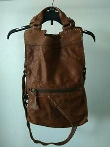 LUCKY BRAND Abbey Road Woman#x27;s Cross Body Bag Leather Fold Over Italian Leather