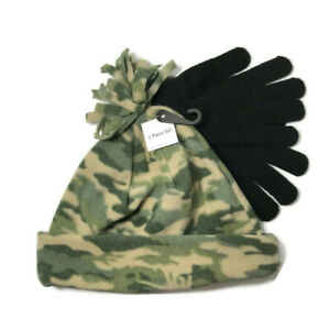 Boys Camo Fleece Hat and Gloves Set One Size Fits Most $9.99