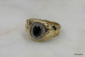 0.75 CT Natural diamond and Sapphire engagement ring 14 K Yellow Gold Size 9