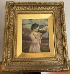 Alfred Addy 1866 1930 Antique Painting quot;Primroses and Violetsquot; Signed 19quot; x 17 $225.00