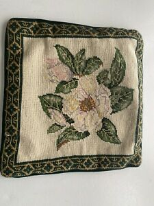 """Needlepoint Pillow Cover Case Floral 13x13"""" $15.00"""