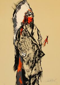 Paul Dyck quot;Buffalo Chiefquot; Hand Signed Original Stone Lithograph 1981 $425.00