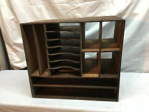 Antique Wood Mail Slot Desk Organizer Divider Wood Box 16.5in x 14in x 9in $71.99