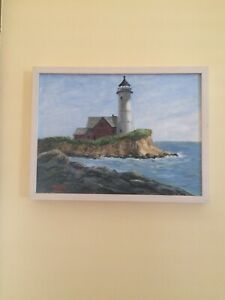 Antique Signed Seascape Lighthouse Oil Painting on Canvas Marvin framed 17x13 $399.00