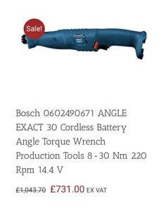Bosch Angle Exact 30 Torque Wrench Battery Charger amp; Angle Head GBP 395.00