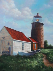 Monhegan Lighthouse Oil Painting on Canvas 18quot;×24quot; Unframed $699.00