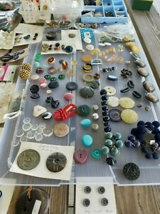 Antique and Vintage Buttons: Celluloid Bakelite Glass Brass Metal Plastic. $200.00
