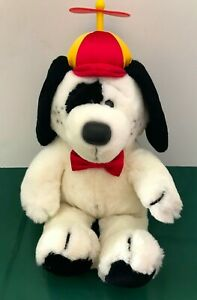 Dakin 16quot; tall plush Hound Dog with Bow Tie and Beanie Propeller cap 1987 $25.00