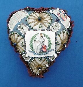 Antique Victorian Sweetheart Sewing Large Pin Cushion WW1 NORFOLK REGIMENT GBP 98.00