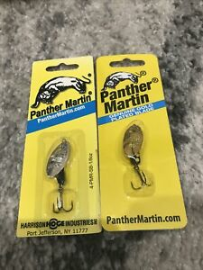 Lot Of 2 Panther Maritin Inline SpinnerBait 1 8oz Black. Trout Bass Fishing Lure