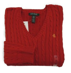 Ralph Lauren LRL V Neck Cable Knit Cableknit Holiday Sweater Jumper Pullover S $49.90