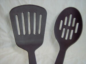 PAULA DEEN SLOTTED SPOON amp; SPATULA TURNER KITCHEN COOKING TOOLS UTENSIL BLACK $12.98