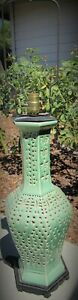FINE LARGE CHINESE ANTIQUE PORCELAIN RETICULATED LANTERN LAMP CELADON VASE $235.00