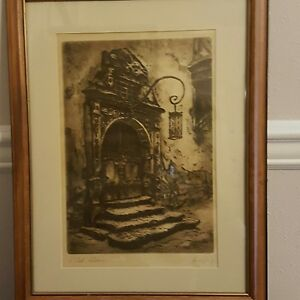 quot;Old Doorquot; Framed Etching Signed. $200.00