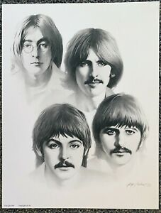The Beatles Lithograph Charcoal Drawing Art Print 17x13 by Gary Saderup 1988 $29.99