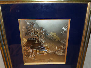 Framed Lithograph Print Blue amp; Gold in Color Outdoor Scenery $195.00