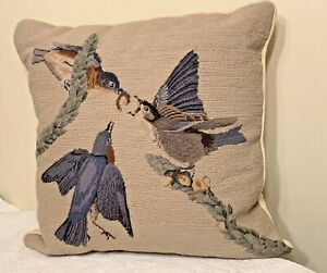 VTG BLUE BIRDS w Worms Handmade Wool Needlepoint Pillow 18quot;x18quot; Diddel no tag $39.99