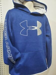 Boys Kids Youth UNDER ARMOUR Long Sleeve Pullover Hoodie Blue white Small $20.99