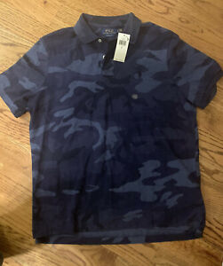 Polo Ralph Lauren Classic Men Blue Camouflage Polo Shirt Size Large NWT $98.50