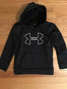 Boys UNDER ARMOUR Pullover Hoodie Jacket SIZE 6 BLACK Large Logo $11.99