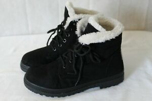 SOL brand womens boots size 6.5 m black leather faux fur lining $13.14