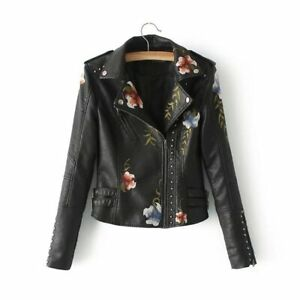 Embroidery PU Leather Jacket Women Motorcycle Jacket Coats Turn down Collar