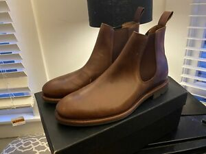 J. Crew Kenton Tobacco Brown Men's Size 10 D Leather Chelsea Boots $220 New