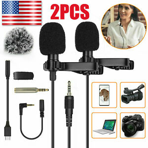 3.5mm Jack Clip on Lapel Lavalier Microphone Condenser Mic for iPhone Android PC $15.98