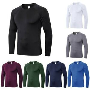 Men Compression Quick Dry Shirt Long Sleeve Top Base Layer Sports GYM Tight Tops $13.34