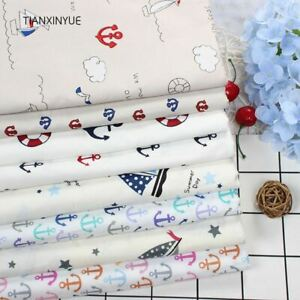 Twill 8 pcs Ocean anchor series Cotton Fabric DIY Patchwork Sewing Kids Bedding $15.82