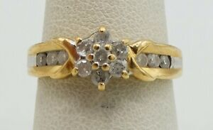 14K Yellow Gold .60 CTW 14 Diamond Floral Ring Size 6.5 8mm 2.9g S1669 $209.99