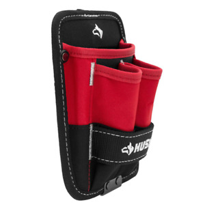 Tool Pouch 3 Pocket Water Resistant with 3 lined Pockets 5 in. Red Black