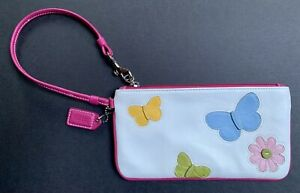 Coach Butterfly Leather Wristlet Purse Wallet White Floral Pink EUC