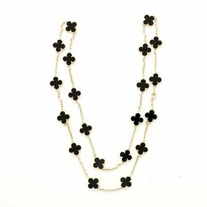 Van Cleef Arpels Vintage Alhambra 20 Motif Necklace 18K Yellow Gold and Onyx $13930.00
