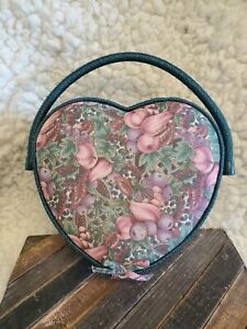 Vintage Sewing Box Heart Shaped Storage Basket with Handle Pin Cushion Pouch $24.95