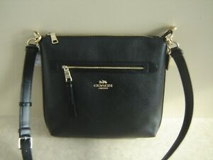 Coach Mae File Black Pebbled Leather Crossbody Bag F34823 **New With Tags**
