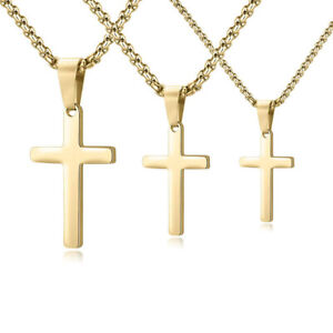Simple Stainless Steel Cross Pendant Necklace for Men Women Box Chain 16quot; 24quot;