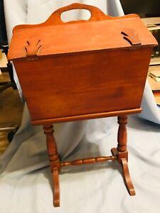 Sewing Box Stand Knitting Crafts Wood Wooden Chest 25quot; Tall Vintage Double Door $40.30